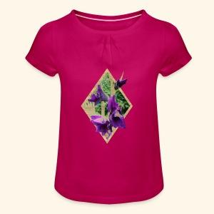 Mädchenshirt Vintage Gladiole - Mädchen-T-Shirt mit Raffungen