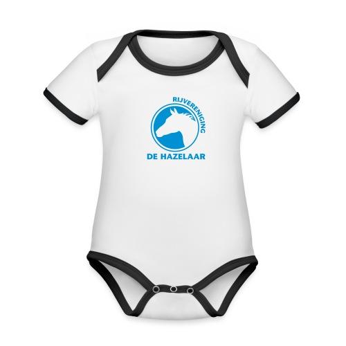 Baby contrasterend bio-rompertje met korte mouwen