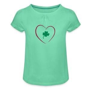 Kleeblatt - Mädchen-T-Shirt mit Raffungen