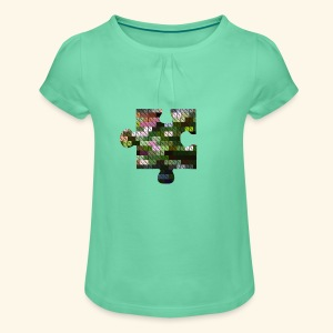 Mädchen Puzzelshirt - Mädchen-T-Shirt mit Raffungen