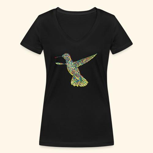 bunter Kolibri Mosaik - Frauen Bio-T-Shirt mit V-Ausschnitt von Stanley & Stella