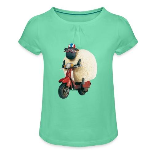 Shaun das Schaf - Shirley auf Roller - Mädchen-T-Shirt mit Raffungen