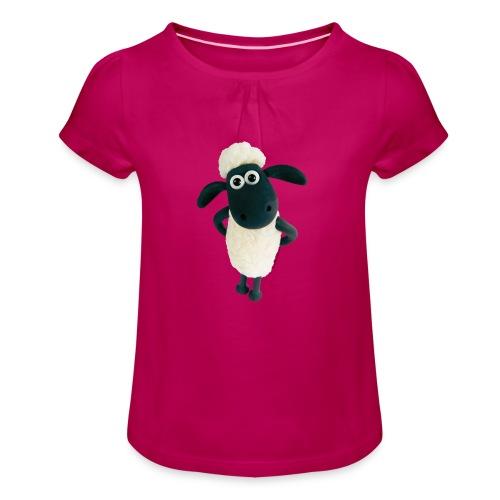 Shaun das Schaf-stehend - Mädchen-T-Shirt mit Raffungen