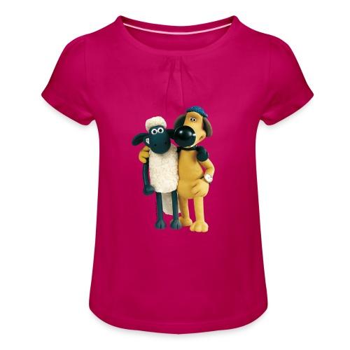 Shaun das Schaf - Shaun und Bitzer - Mädchen-T-Shirt mit Raffungen