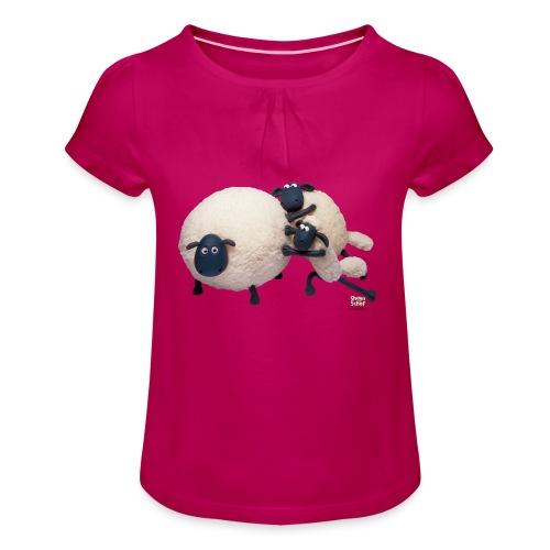 T-Shirt 'Shaun schiebt Shirley' - Mädchen-T-Shirt mit Raffungen
