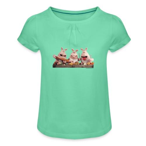 T-Shirt Shaun das Schaf- Schweine - Mädchen-T-Shirt mit Raffungen