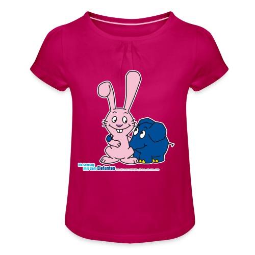 Kleiner Elefant und Hase - Mädchen-T-Shirt mit Raffungen