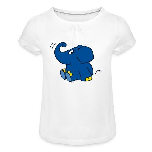 Kleiner Elefant - Mädchen-T-Shirt mit Raffungen