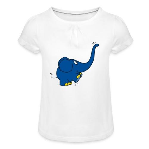 Kleiner Elefant streckt den Rüssel in die Luft - Mädchen-T-Shirt mit Raffungen