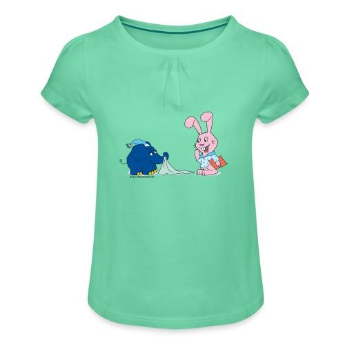 Elefant & rosa Hase - Mädchen-T-Shirt mit Raffungen
