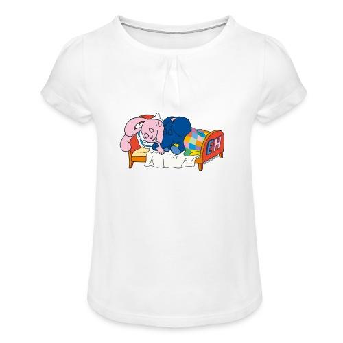 Elefant & rosa Hase schlafen - Mädchen-T-Shirt mit Raffungen