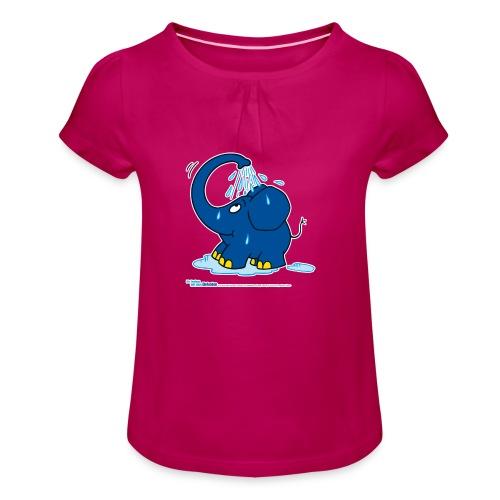 Der kleine Elefant duscht - Mädchen-T-Shirt mit Raffungen