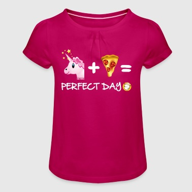 SmileyWorld Unicorn Plus Pizza = Perfect Day - Girl's T-shirt with Ruffles