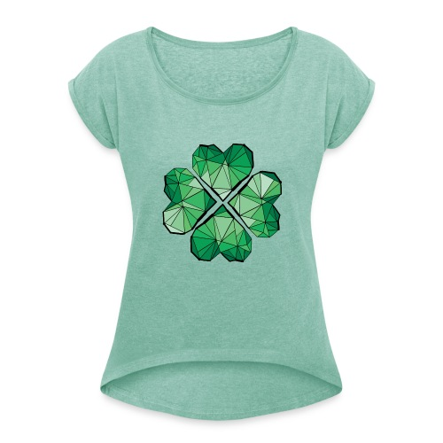 Geometric Clover  - Women's T-shirt with rolled up sleeves