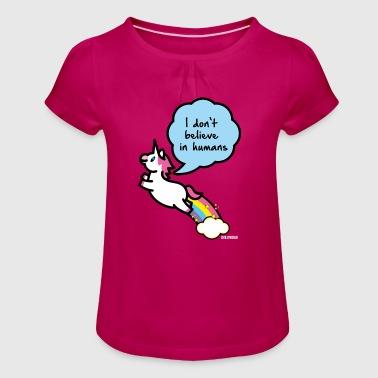 SmileyWorld I don't belive in Humans - Mädchen-T-Shirt mit Raffungen