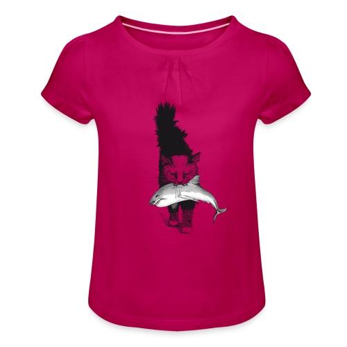 Shark Cat - Girl's T-Shirt with Ruffles
