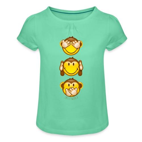 SmileyWorld 3 Monkey vertical - Mädchen-T-Shirt mit Raffungen