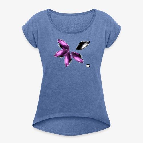 Maglietta aurora boreale viola e nero - Maglietta da donna con risvolti