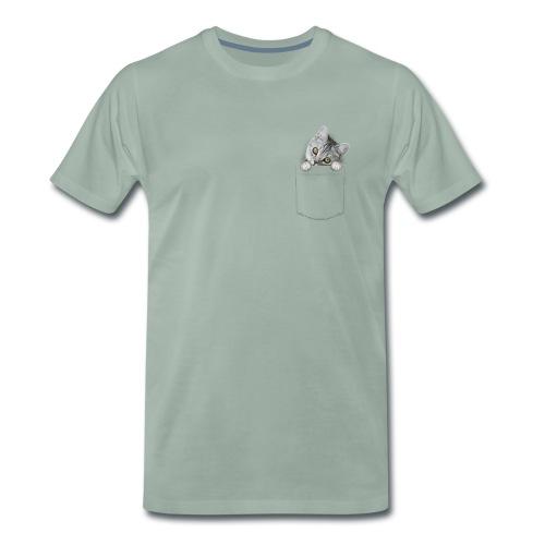 Funny t-shirt met katje in het borstzakje - Mannen Premium T-shirt