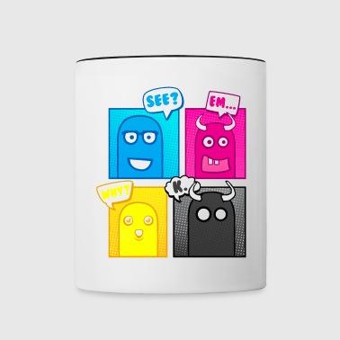 Kleine Monster (Pop Art) 02 - Tasse zweifarbig