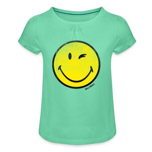 SmileyWorld Classic Smiley wink - Mädchen-T-Shirt mit Raffungen