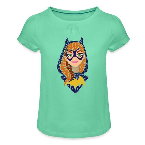 DC Superhero Girls Batgirl Typo - Mädchen-T-Shirt mit Raffungen