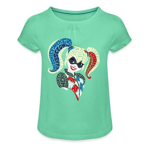 DC Superhero Girls Harley Comic - Mädchen-T-Shirt mit Raffungen