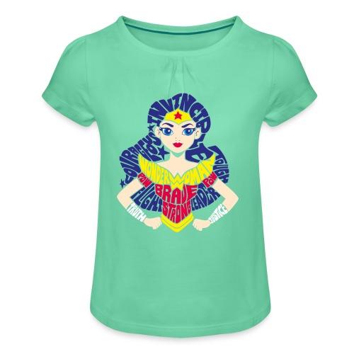 DC Superhero Girls Wonderwoman Comic - Mädchen-T-Shirt mit Raffungen