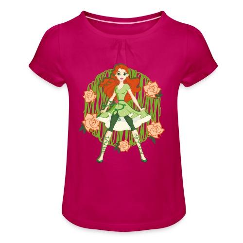 DC Superhero Girls Poison Ivy - Mädchen-T-Shirt mit Raffungen