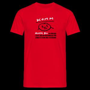 Komm auch du zu Berlins Lach- und Mitmachmesse für junge Eltern und Sterbende - Männer T-Shirt