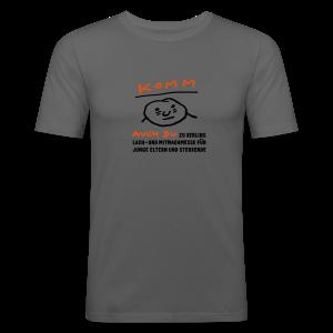 Komm auch du zu Berlins Lach- und Mitmachmesse für junge Eltern und Sterbende - Männer Slim Fit T-Shirt