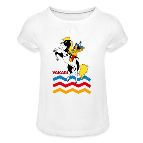 Yakari - kleiner Donner steigt - T-Shirt - Mädchen-T-Shirt mit Raffungen
