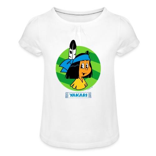 Yakari-T-Shirt Gesicht - Mädchen-T-Shirt mit Raffungen