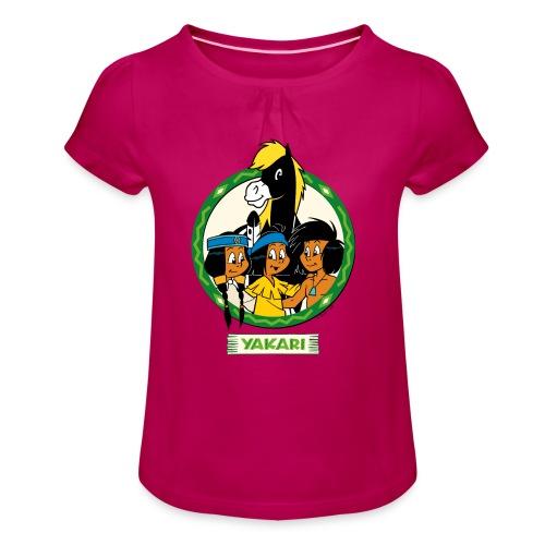 Yakari-T-Shirt grüner Kreis - Mädchen-T-Shirt mit Raffungen