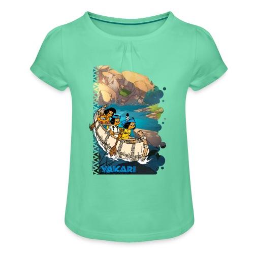 Yakari-T-Shirt Kanutour - Mädchen-T-Shirt mit Raffungen