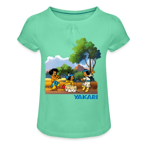 Yakari-T-Shirt Trommel - Mädchen-T-Shirt mit Raffungen