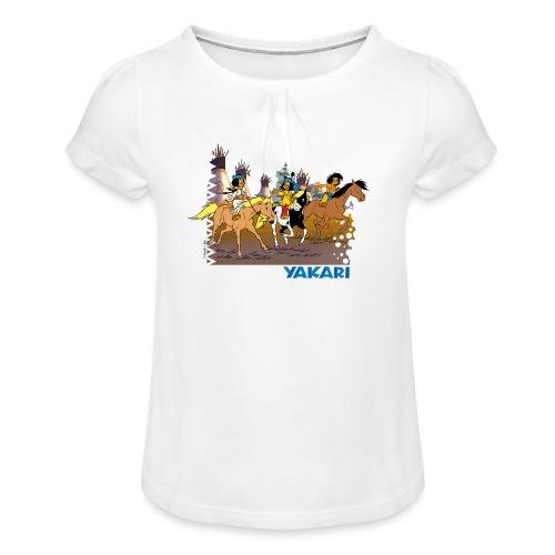 Yakari-T-Shirt Gruppe reitet - Mädchen-T-Shirt mit Raffungen