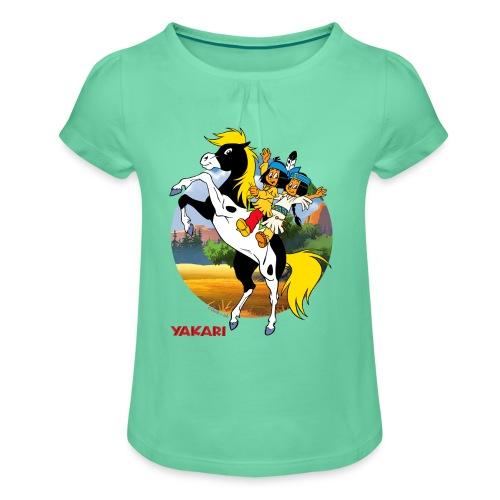 Yakari-T-Shirt Regenbogen auf - Mädchen-T-Shirt mit Raffungen