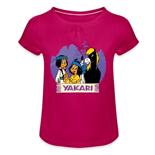 Yakari-T-Shirt Beste Freunde - Mädchen-T-Shirt mit Raffungen