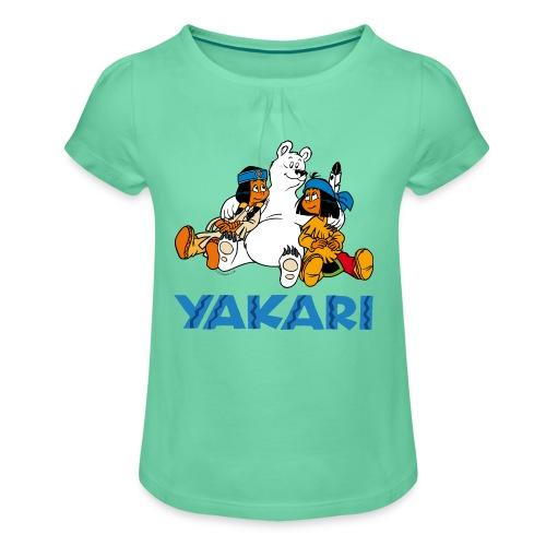 Yakari-T-Shirt mit Schneeball - Mädchen-T-Shirt mit Raffungen
