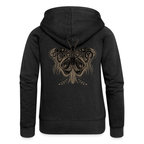 S7 DELUXE Backprint Butterfly Ladies Zipper - Frauen Premium Kapuzenjacke