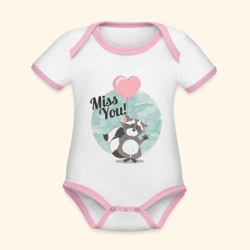 Miss you! - Baby Bio-Kurzarm-Kontrastbody