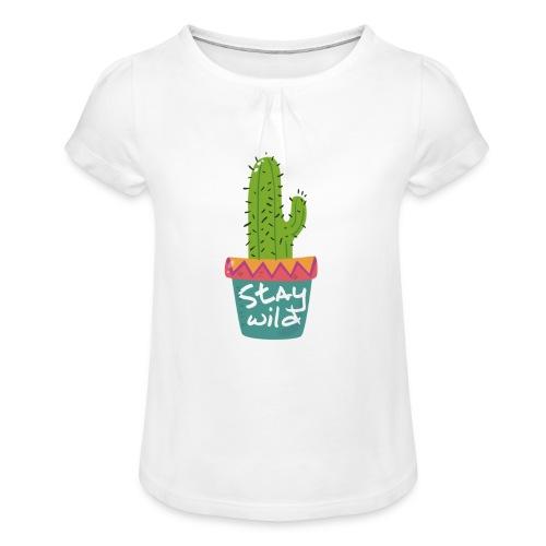 Boho Stay Wild Cactus [hand drawn] - Meisjes-T-shirt met plooien