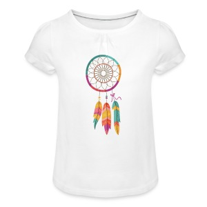 Boho DreamCatcher [hand drawn] - Meisjes-T-shirt met plooien