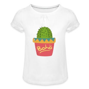 Boho Cactus [hand drawn] - Meisjes-T-shirt met plooien