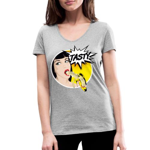 Popart Banane - Frauen Bio-T-Shirt mit V-Ausschnitt von Stanley & Stella