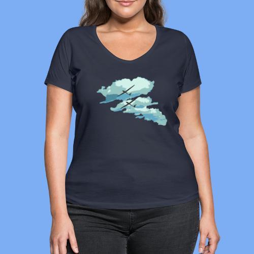 Segelflieger Wolkenstraße cloudstreet - Women's Organic V-Neck T-Shirt by Stanley & Stella