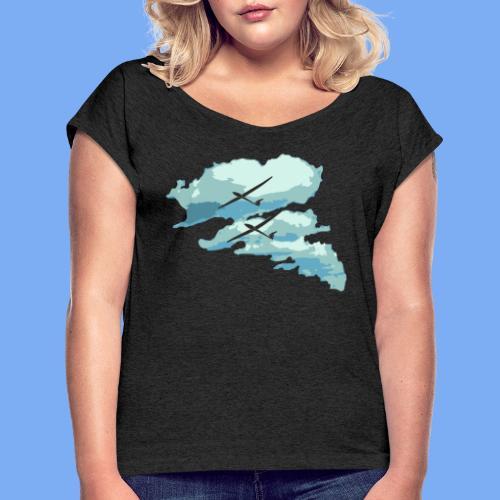 Segelflieger Wolkenstraße cloudstreet - Women's T-Shirt with rolled up sleeves