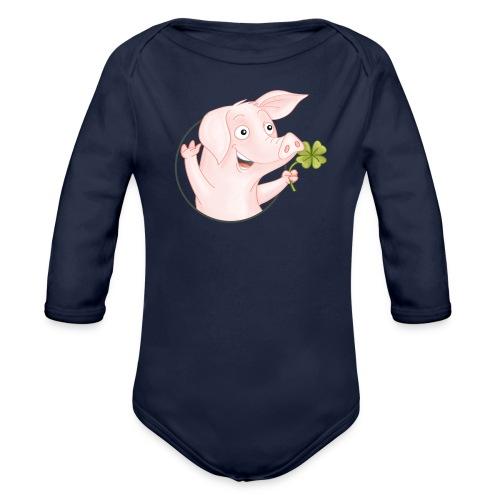 Glücksschwein - Baby Bio-Langarm-Body - Baby Bio-Langarm-Body