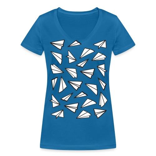 Vliegtuigjes vrouwen v-hals bio - Vrouwen bio T-shirt met V-hals van Stanley & Stella